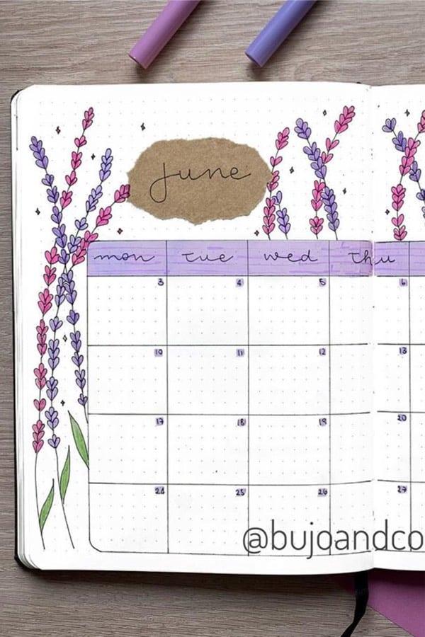june bujo spread with lavender spread