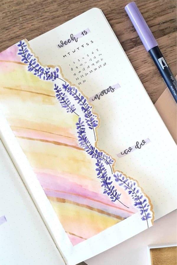 lavender bullet journal example