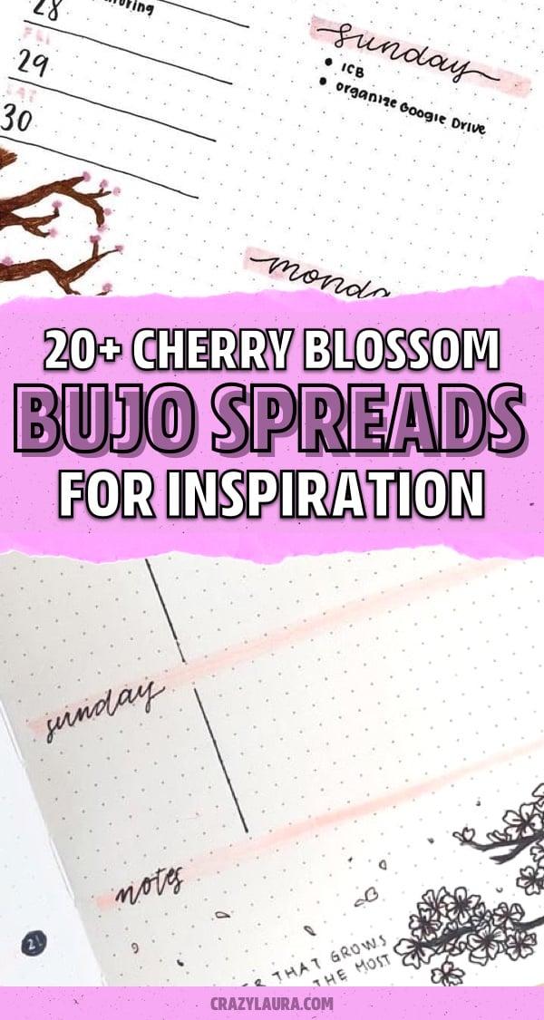 easy cherry blossom bujo inspo