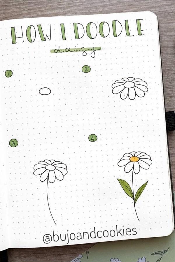 bujo doodle tutorial for daisy