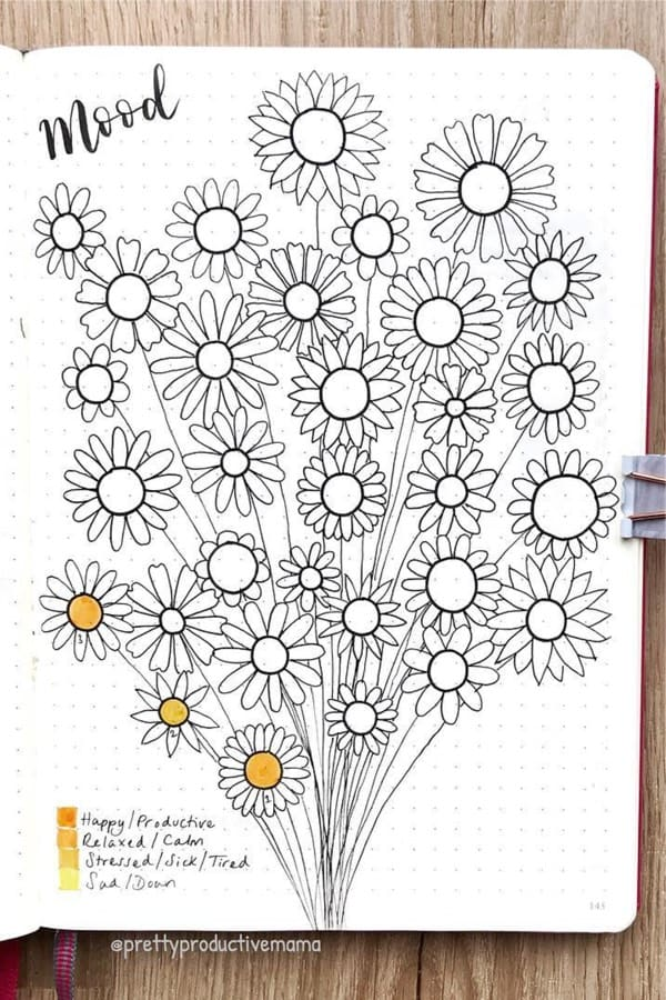 bullet journal tracker with daisies