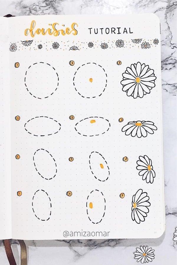 doodle tutorial for daisy flower