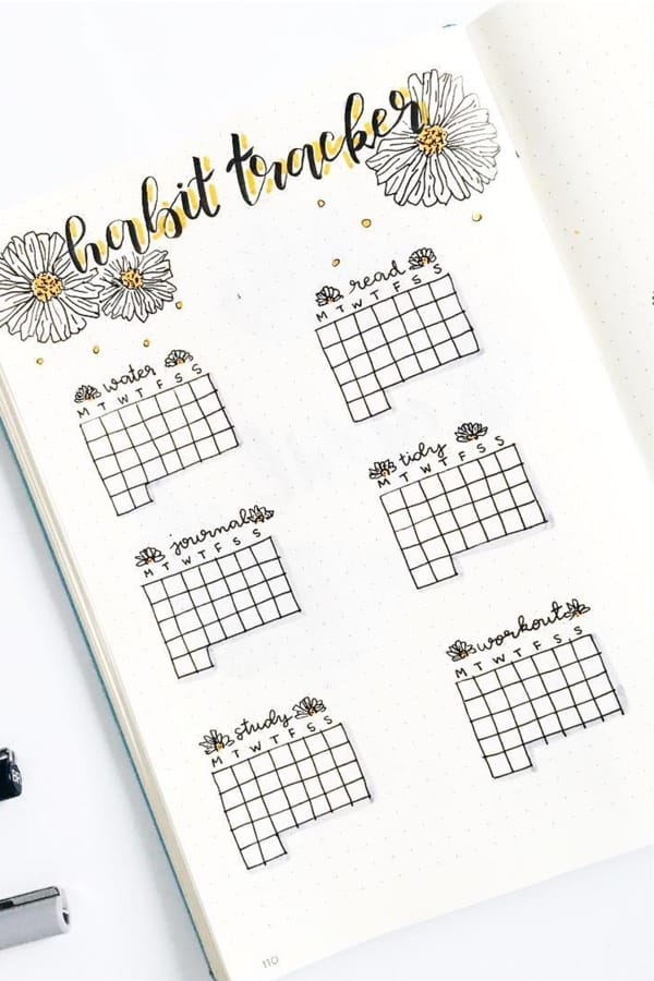 bullet journal tracker with daisy drawing