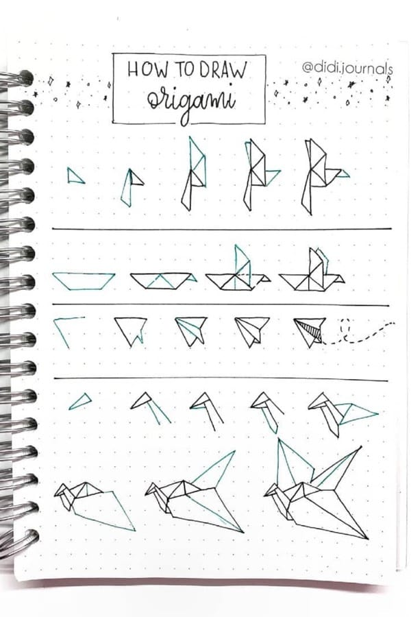 how to draw folded paper for bujo