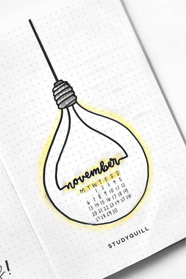 hanging light bulb bujo cover