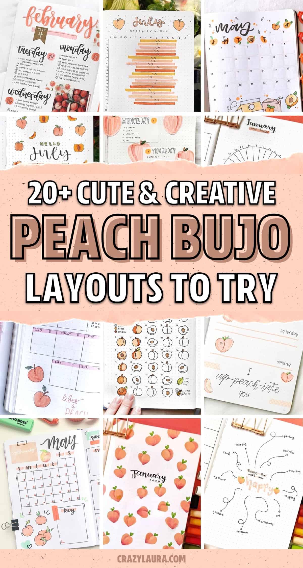 peach themed dot journal ideas