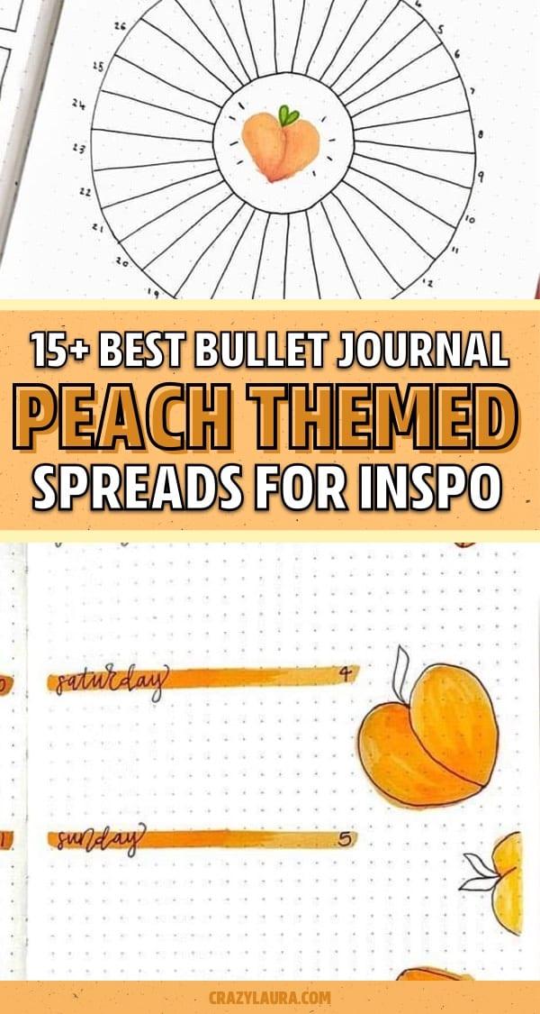 easy bujo spread with peaches