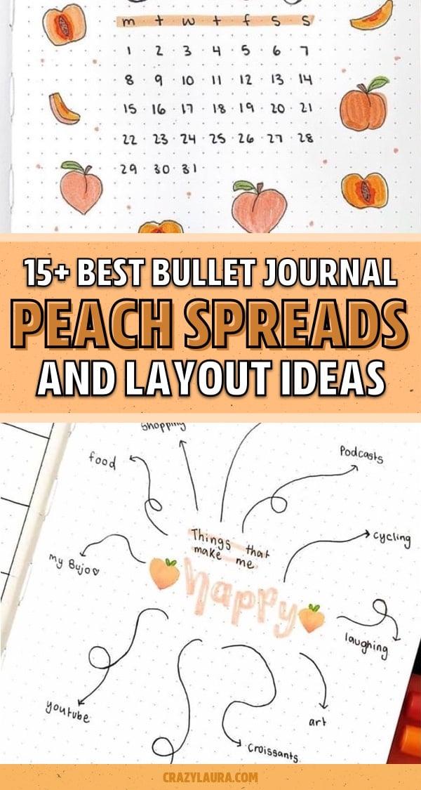 creative bullet journal ideas with peach
