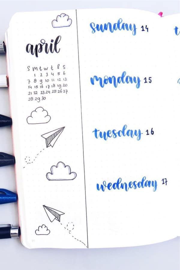 simple weekly layout with plane doodles