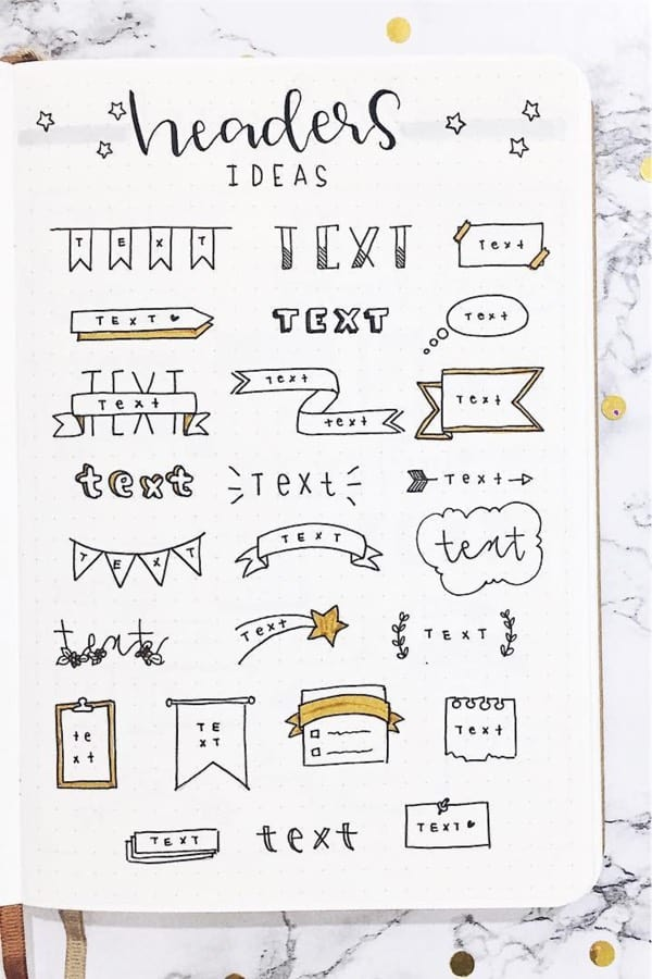 bullet journal headers with banner doodles