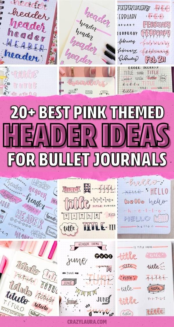 creative pink bujo title ideas