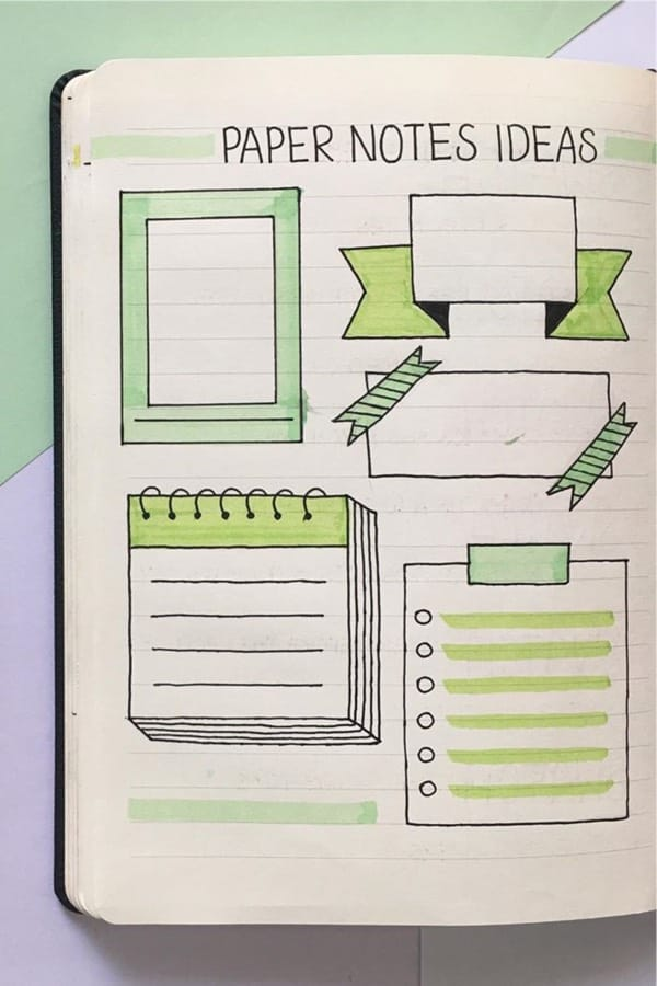 how to draw paper notes in journal