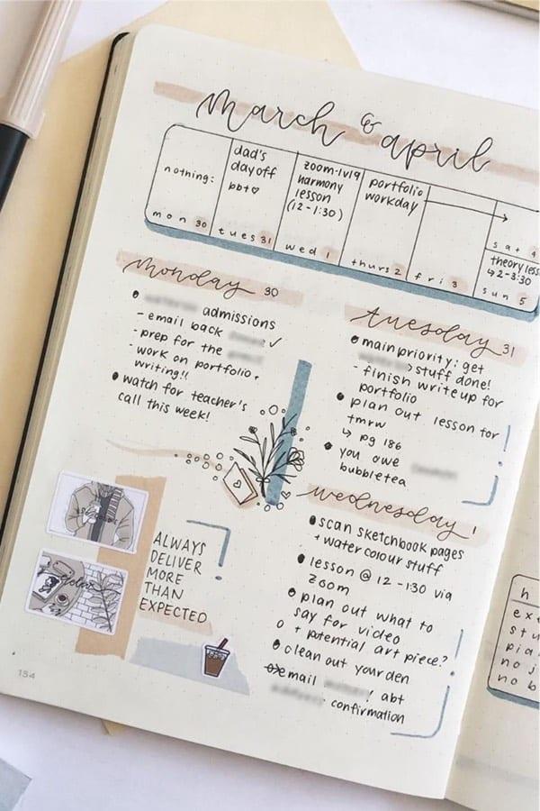 notebook themed bujo spread
