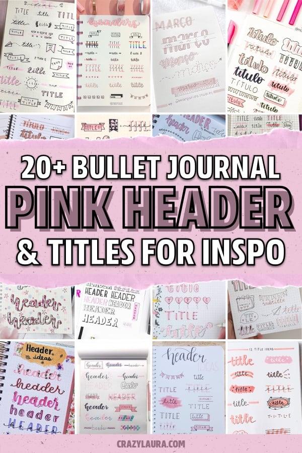 best pink themed bujo headers