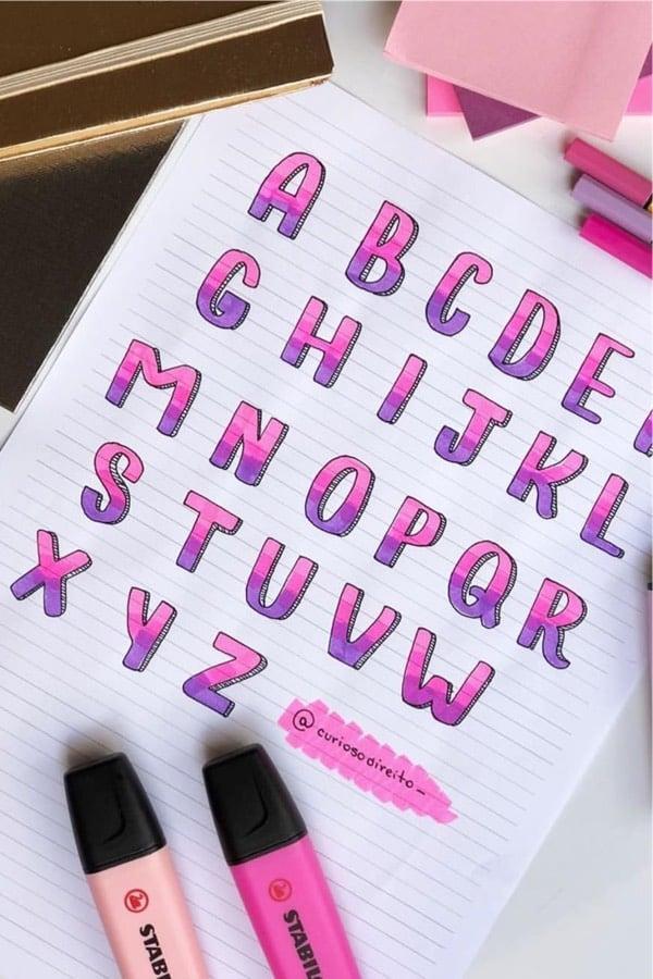 pink alphabet inspiration for bullet journal