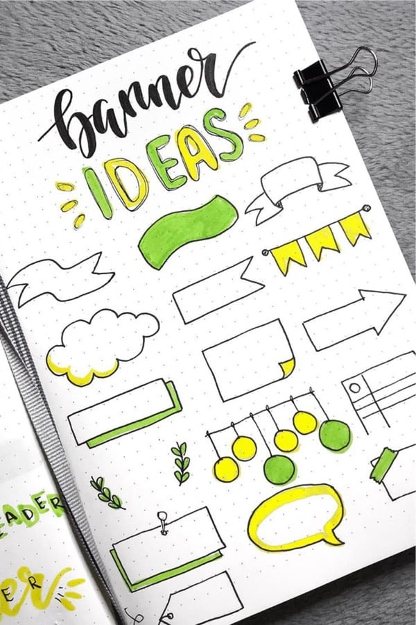 bujo banner examples in yellow