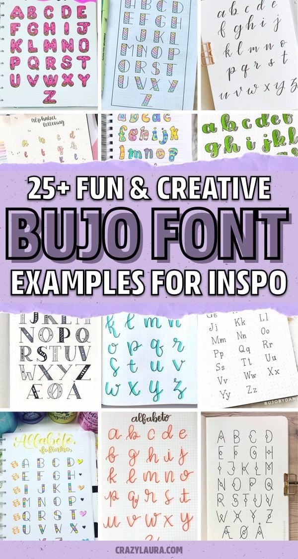 dot journal lettering ideas for inspo
