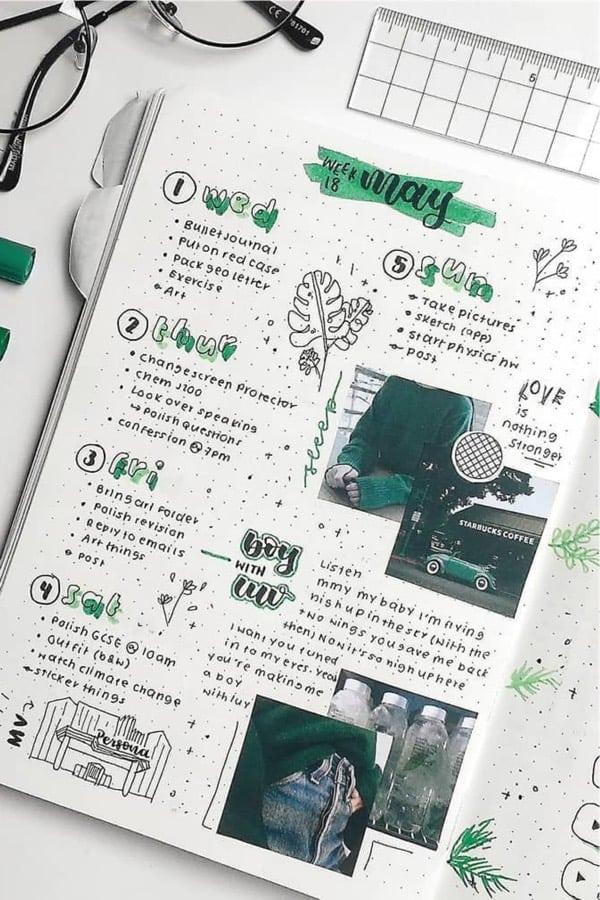 green themed scrapbook spread
