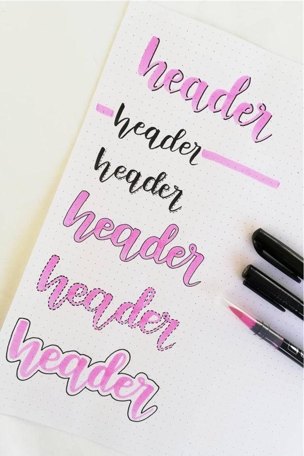 journal header in pink