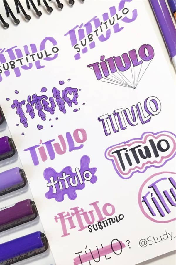best purple bullet journal headers