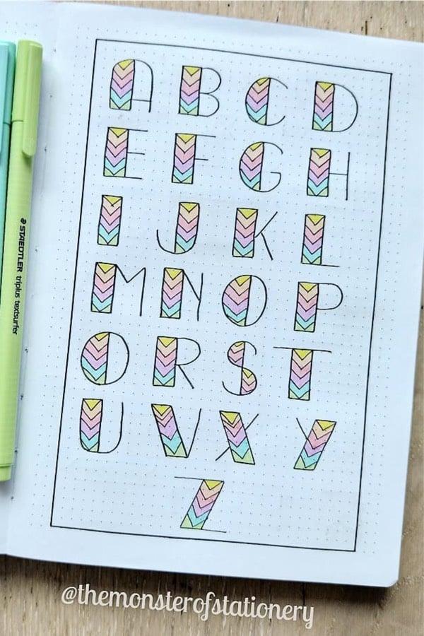 best alphabet inspiration for bullet journal