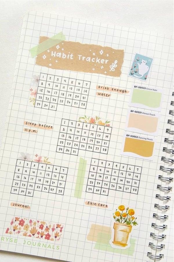 habit tracker with scrap paper