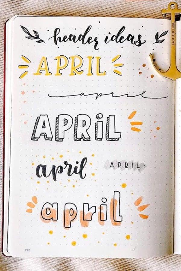 april themed bullet journal headers