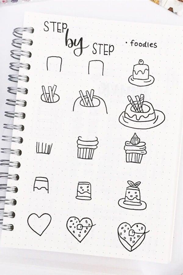 cake doodle tutorial for bujo