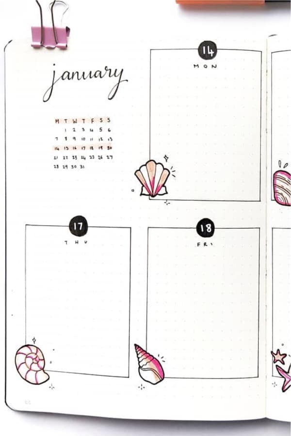 best beach bullet journal spreads