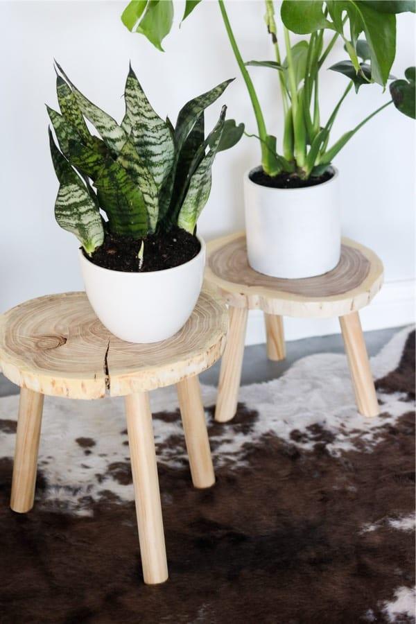 natural wood indoor planter stand