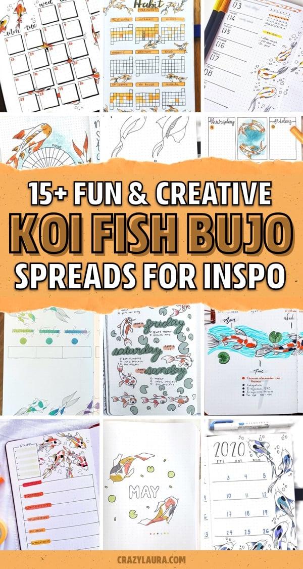 bujo theme with orange koi drawings