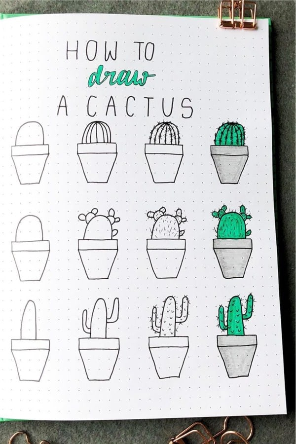cactus in pot bullet journal doodle