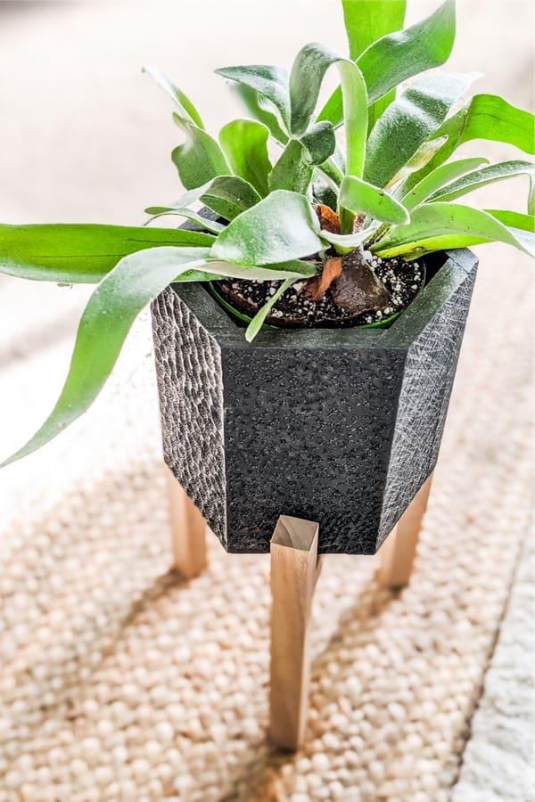 homemade indoor hexagon plant stand example
