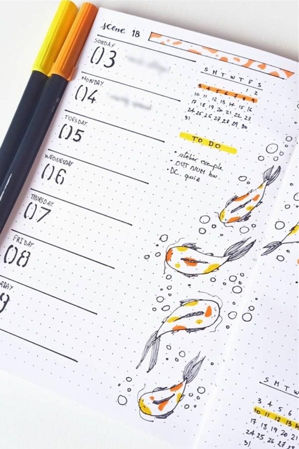 single page bujo spread with orange koi fish