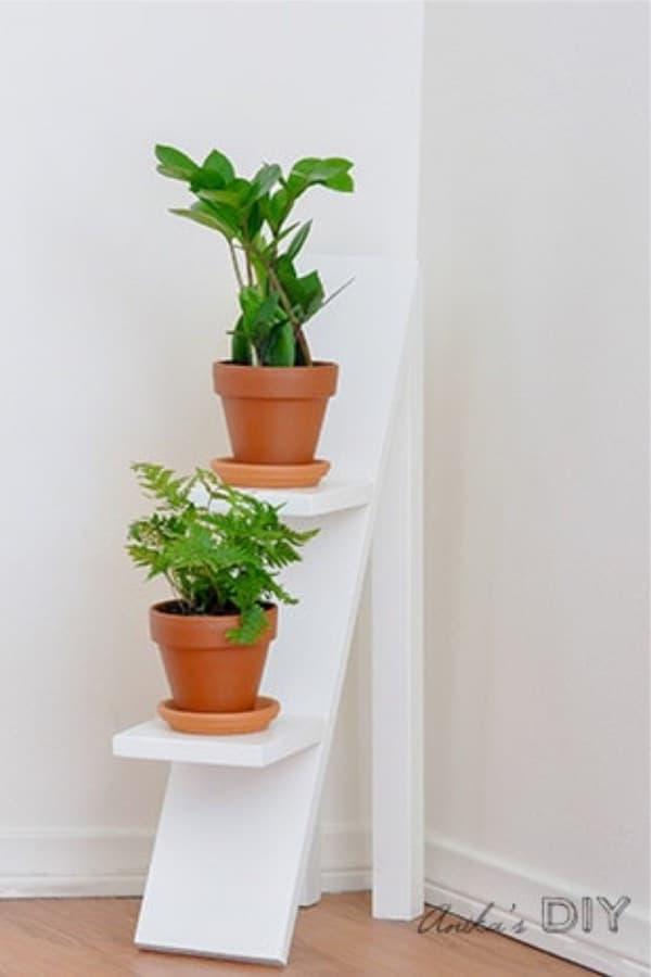indoor tierd plant stand from leftover wood