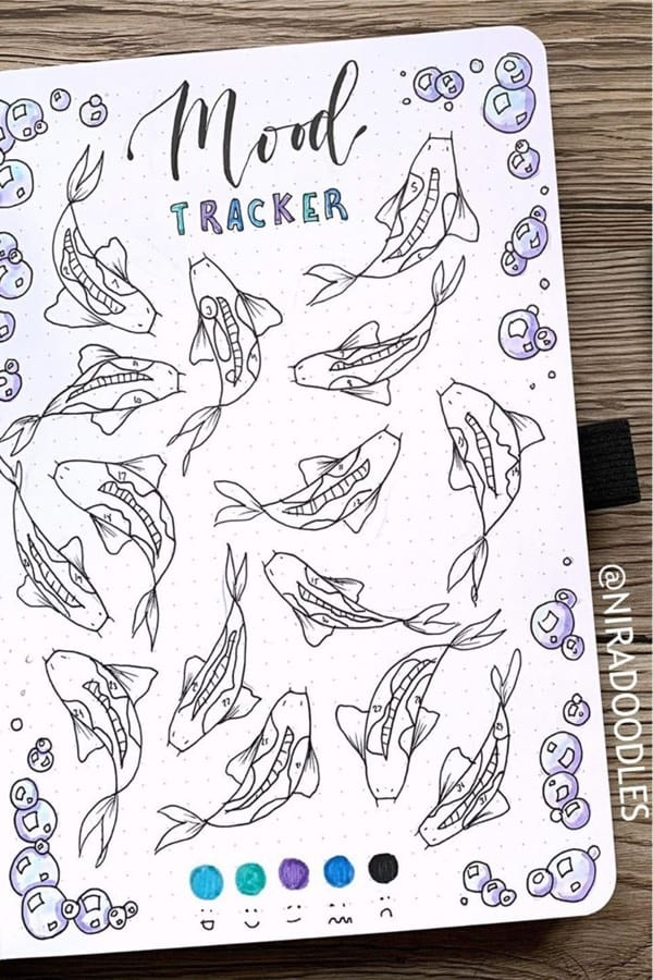 best koi fish themed bujo tracker