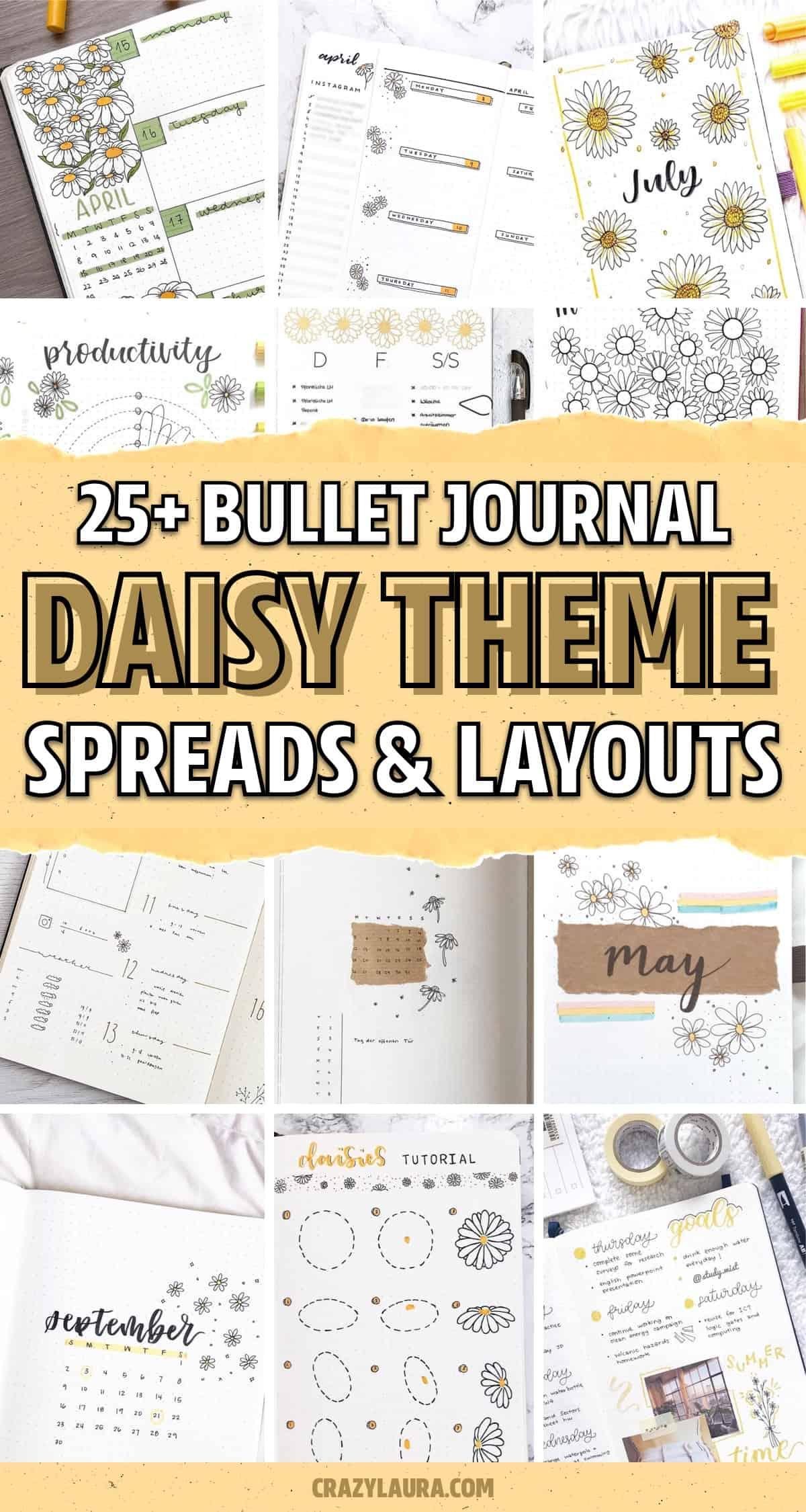 best daisy flower theme for bullet journals