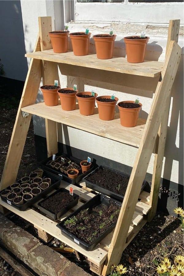 leftover pallet for ladder planter