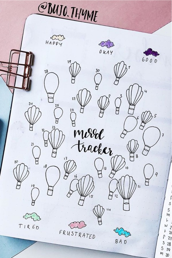best bujo layout ideas with hot air balloon doodles