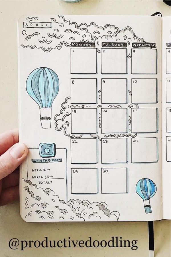 blue hot air balloon bullet journal spread