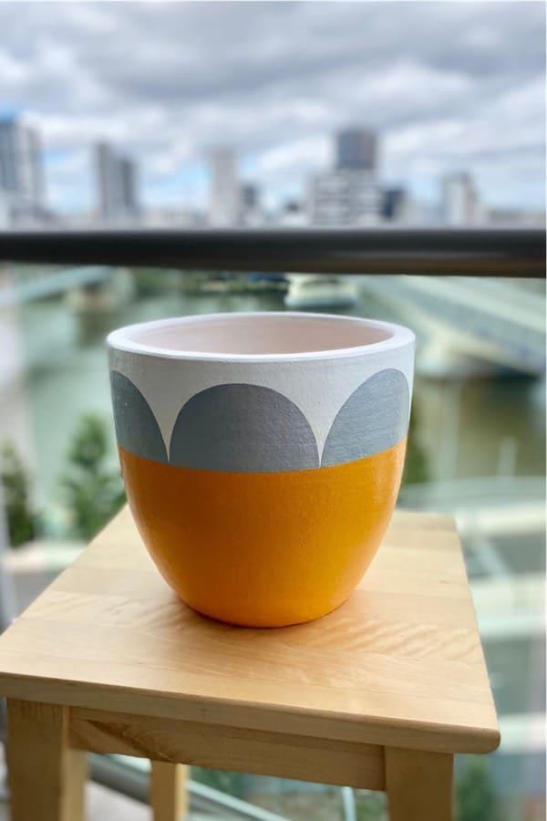 painted clay pot with boho vibe
