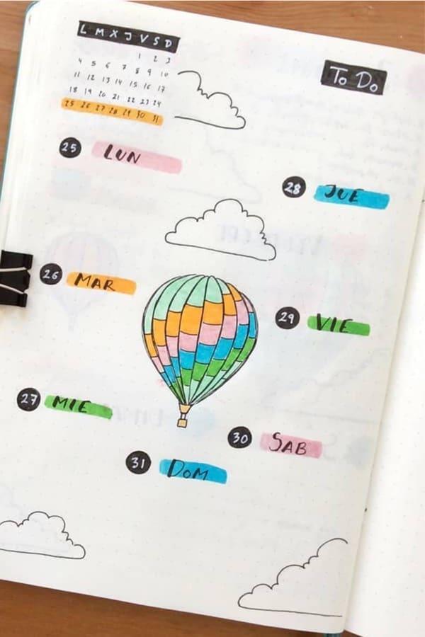 bullet journal flying balloon theme for summer