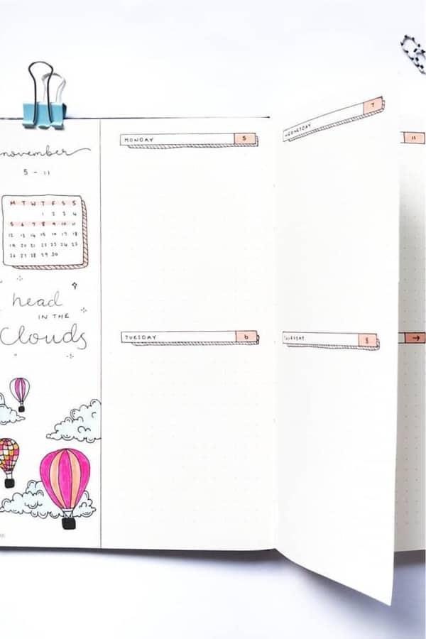 bullet journal dutch door spread inspiration