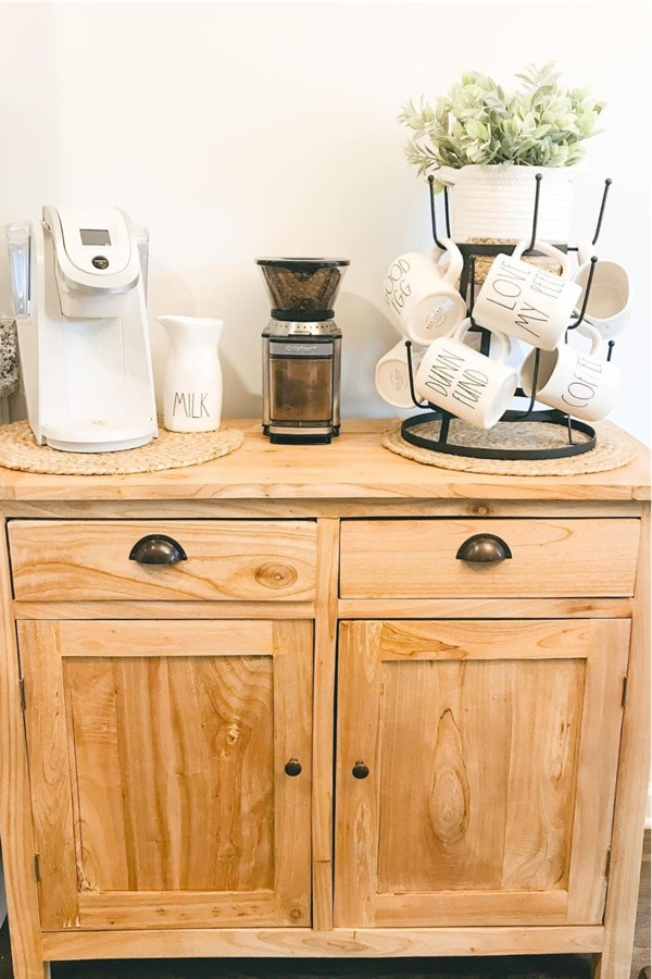 homemade coffee cup station