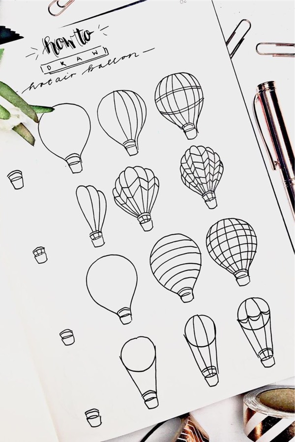 step by step hot air balloon doodle tutorial