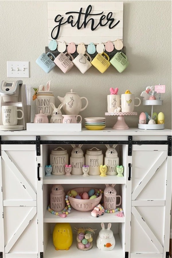 farmhouse coffee stand with easter decor