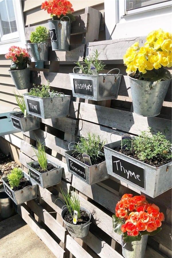 vertical diy garden with metal flower box