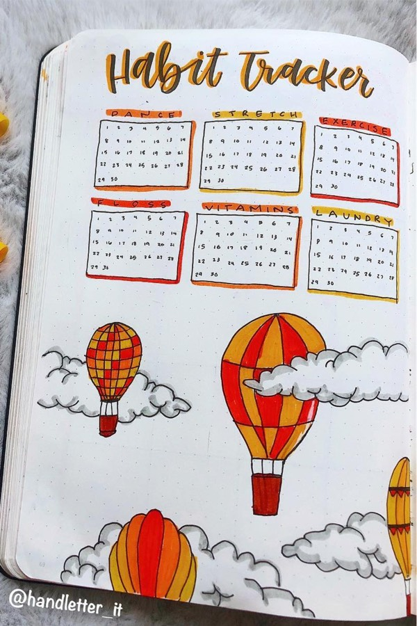 cloud and balloon habit spread inspo