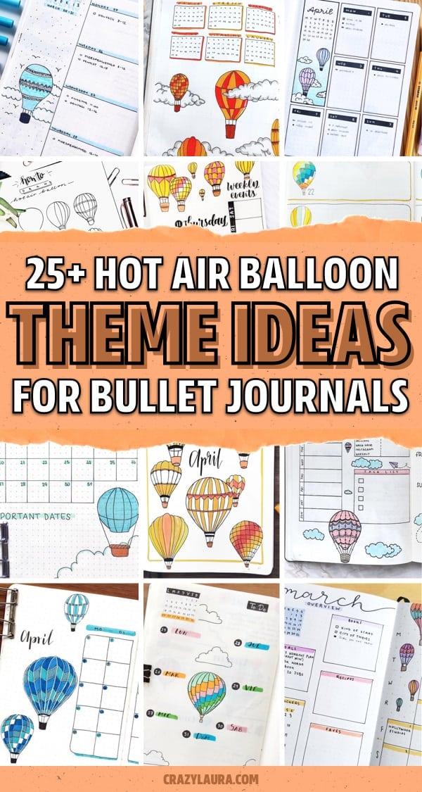 dot journal hot air balloon spreads