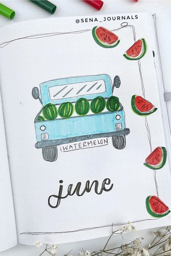 cover page with watermelon doodles